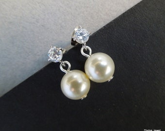 Bridal Pearl Earrings Ivory Swarovski Pearls Bridal Stud Earrings Bridal Rhinestone Earrings Pearl wedding Rhinestone Earrings Pearl BETH