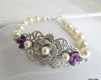 pearl bracelet pearl and rhinestone Bracelet Statement Bridal Bracelet Bridal Rhinestone Bracelet purple swarovski crystal bracelet ROSELANI