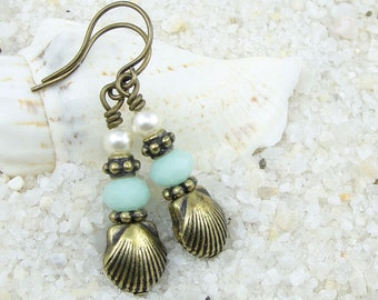Seashell Earrings Nautical Earrings Beach Jewelry - Antique Brass and Mint Green Crystal with Pearl Earrings - Summer Sea Shell Jewelry