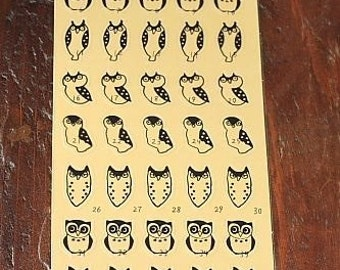 Owl Stickers-Owl Decals-Scrapbooking Embellishment-Owl Sticker Set-Envelope Seals
