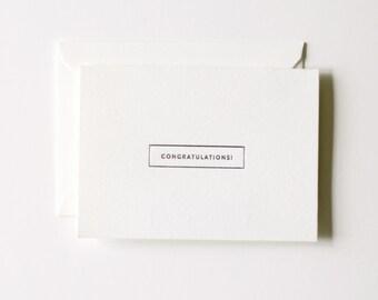 Congratulations - Letterpress Printed Greeting Card