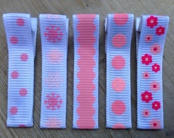 Pink Hair Clips - Set of Five Barrettes with silicone No Slip Grips