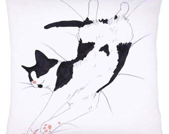 Cat Cushion Pillow Black White Tuxedo Nap Sleeping Allergy Free