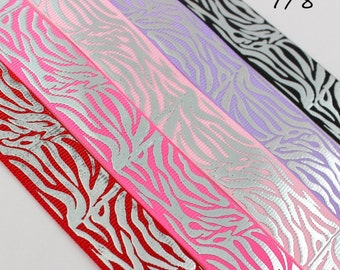 """CLEARANCE-5yds-You Choose-7/8"""" Printed Ribbon- Foil Print Ribbon-  Foil Ribbon, Grosgrain Ribbon, ZEBRA"""