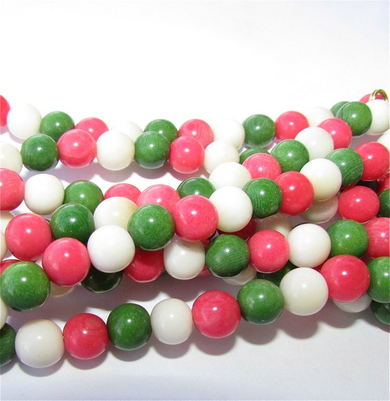 20 Almost Kelly Green, Salmon Pink and White Tagua Nut Beads, 7mm Rounds, Organic Beads, Vegetable Ivory Beads, Natural Beads, EcoBeads