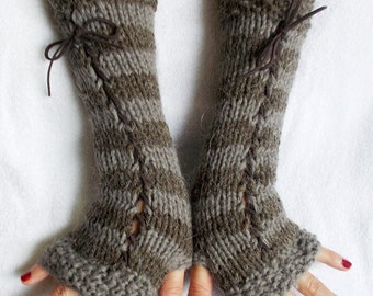 Fingerless Gloves Knit Women Long Corset Arm Warmers in  Grey Brown Taupe