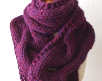 Chunky Scarf Big Cabled Purple Violet Burgundy  Cowl Hand Knitted
