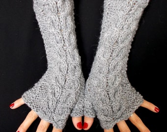 Fingerless Gloves Grey Wrist Warmers Cabled Handmade Warm Soft