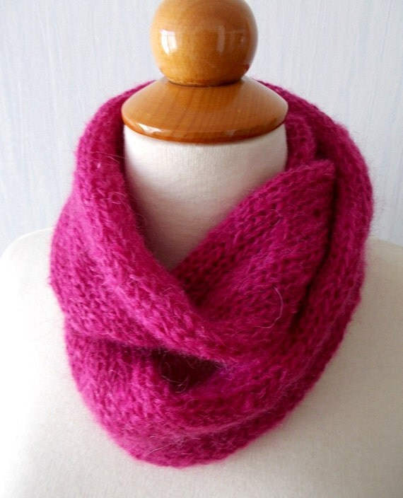 Tube Cowl Knitting Pattern : Knitted Infinity Tube Cowl Scarf In Peony Pink Mohair Super