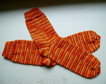 Hand Knit Soft And Warm  Women's Superwash Merino Wool  Socks, Size  8.5  - 9  (9.75 inches length) - Fall Colors