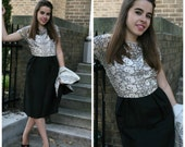 Vintage 50s 60s Silk Shantung Suit / Black 2 Piece Dress and Jacket, Small