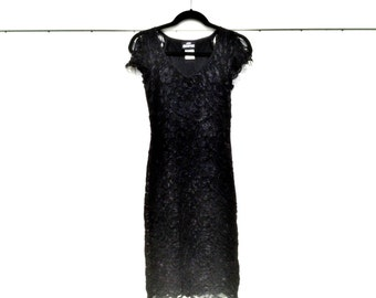 Vintage 1980's Bodycon Black Stretch Lace Dress Sleeveless with Open Shoulder Flaps by Jodi Kristopher Women's Size Medium
