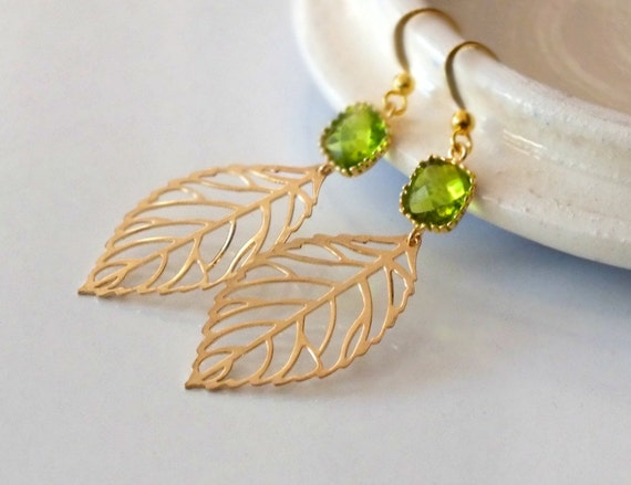 Gold Leaf Dangle Earrings with Dark Apple Framed Stone Connector Earrings - Also Available in Silver, Autumn Leaves, Bridesmaid Earrings