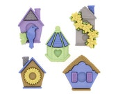 Jesse James Buttons Feather Nest Bird House Birdhouse Button Sewing Crafts