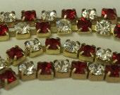 Vintage Swarovski Red Siam and Crystal Rhinestone 4mm Chain (1) Foot