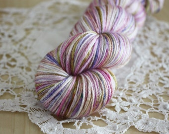 Hand Dyed Yarn / Lavender Lilac Rose Gold Sand Danaerys Silk Merino Wool / Fingering Weight