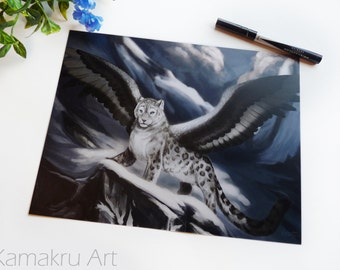 Winged Snow Leopard | Flying Cat | Snowy Mountains | Fantasy Illustration | Art Print | 8.5x11