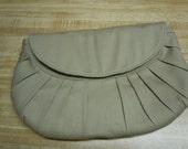 Pleated Clutch Bag - Khaki Twill Clutch Bag