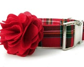 Red Tartan Dog Collar with Nickel Plate Hardware and Red Flower Accessory - 1.5 Inch Wide - Scottie Plaid