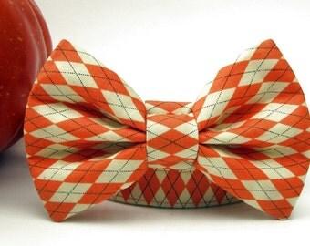 Autumn Argyle Bow Tie Dog Collar in Orange and Cream