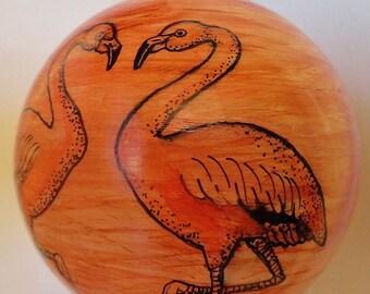 Handpainted Ceramic Ornament Palm Tree Flamingos Coastal