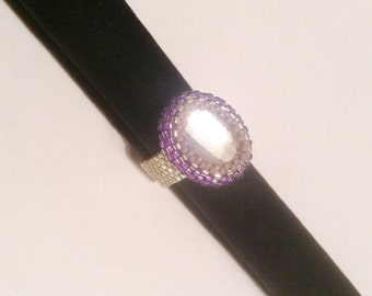 Emma Beaded Ring in Purple & Silver tones by TovArtCreations