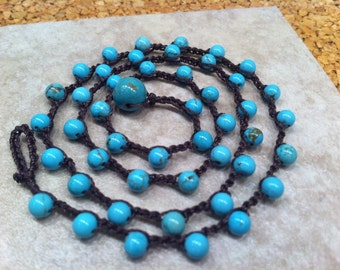 Dainty Turquoise Blue Magnesite beaded Crocheted Necklace Chocolate Brown Thread Great Summer Jewelry Classic Easy to Wear Pretty