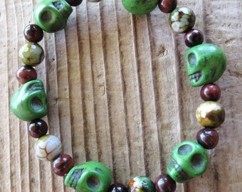 Green Skulls with Red Tiger's Eye and Faceted Agate Beads Stretch Bracelet