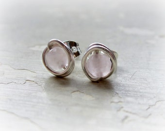 Rose Quartz Stud Earrings, Tiny Sterling Posts, Wire Wrapped Earrings, Pale Pink Studs, Faceted Quartz, Bridesmaid Jewelry, Little Posts