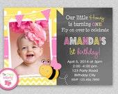 Bee Birthday Invitation ,  Bumble Bee Invitation Printable