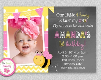Bee Birthday Invitation ,  Bumble Bee Invitation Printable