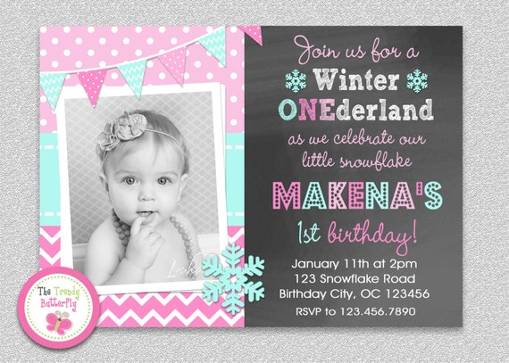 like this item - Winter Onederland Party Invitations