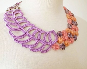 Irish Crochet Lace Jewelry (Mellifluence) Fiber Art Necklace, Bib Necklace, Statement Necklace,Crochet Necklace