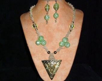 Hemp Necklace Mint Sparkle