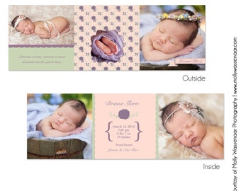 Instant Download BRIANA-5 Tri-fold Birth Announcement - Perfect for Photographers   - Perfect for Photographers - 5x5 Folded