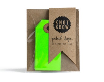 Neon Green Parcel Gift Tags / Set of 10