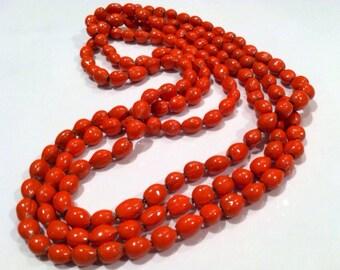 Orange SEEDs Nature Acai Hand Painted Pumpkin Fall AUTUMN Designer Handmade Ethnic Necklace Authentic Genuine Vintage Jewelry artedellamoda