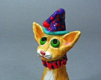 TRAPPER T. CAT is So-o-o Embarrassed, A Whimsical Party Animal Clay Cat Sculpture