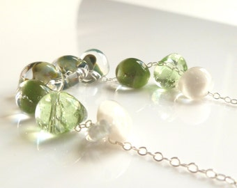 Blue Green Necklace - .925 sterling silver chain and pale glass swirled small drops with hints of aqua / white / clear - LAGOON