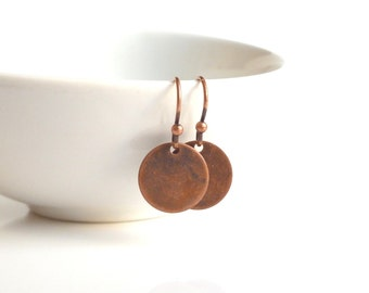 Copper Disk Earrings - small antique / aged finish round rust brown flat disc on little simple ball ear hook - lightweight minimalist style