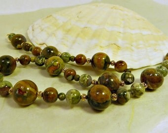 Rhyolite, Williamsite, and Gold Filligree Olive Green Necklace