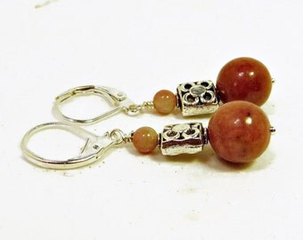 Rhodanite Beads and Pewter Textured Bead Dangle Earrings