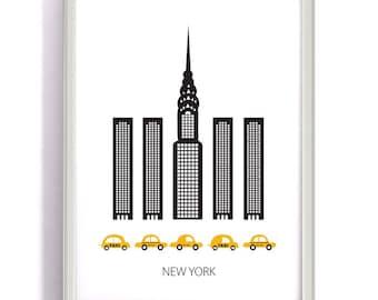 New York poster, Digital download, Scandinavian design, skyline, modern poster, art