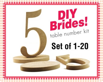 Wooden Numbers - Do It Yourself Wedding Table Number Kit - Unfinished Wood Numbers
