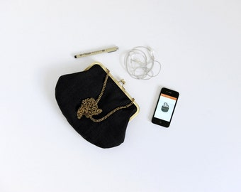 black clutch. black purse. black handbag. kisslock purse. clutch purse. small bag. evening purse. gift idea.