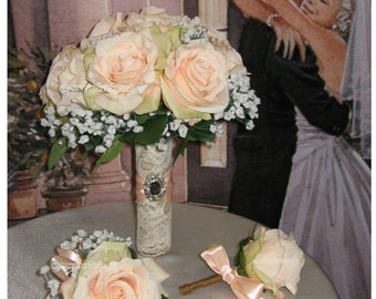 Rustic Bellini Bridal Bouquet, Silk Bellini Wedding Flowers, Vintage Bellini Bridal Bouquet