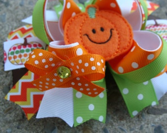 Pumpkin Hair Bow Halloween hair bow large hair bow Orange hair bow holiday hair bow Felt pumpkin hair bow