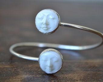 MAN In The MOON Bangle /// Electroformed Carved Bone Moon /// Silver /// Bracelet