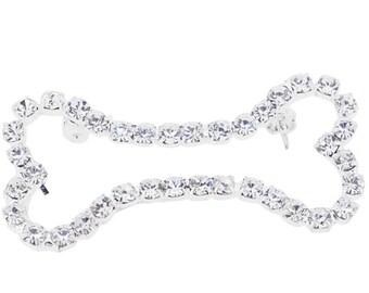 Silver Chrome Dog Bone Crystal Brooch Pin 1010652