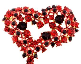 Red Heart Crystal Pin Brooch 1000631